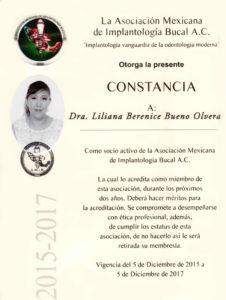 Doctora y socia activa de la AMIBM (Asociación Mexicana de Implantología Bucal de México), Liliana Bueno está en constante preparación en dicha institución.